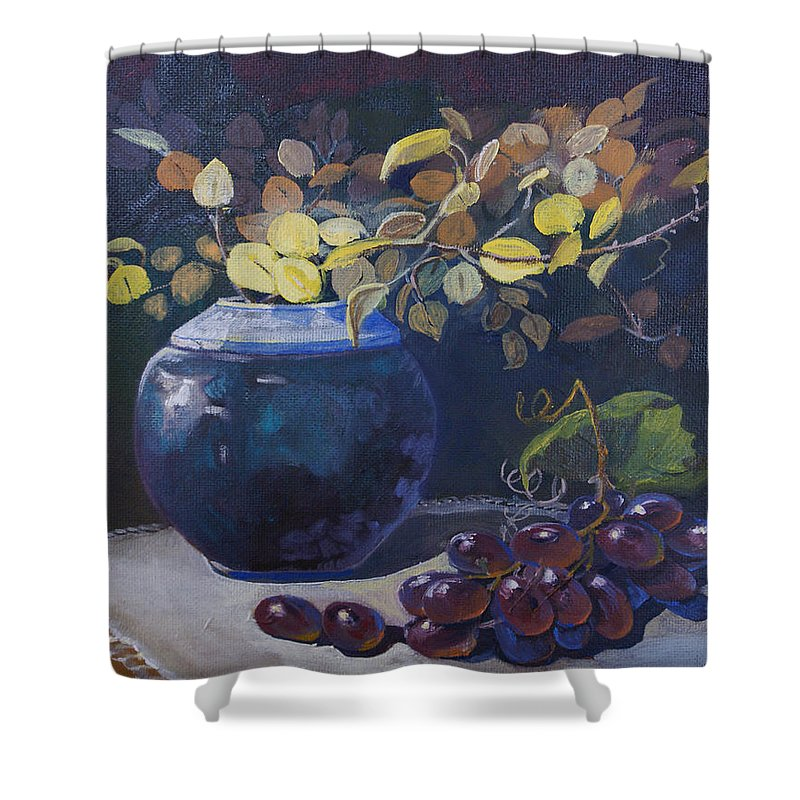 Still Life Shower Curtain featuring the painting The Teal Vase by Heather Coen