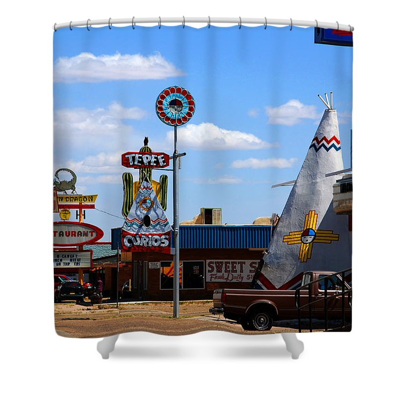 Tucumcari Shower Curtain featuring the photograph The Tee-pee Curios On Route 66 Nm by Susanne Van Hulst