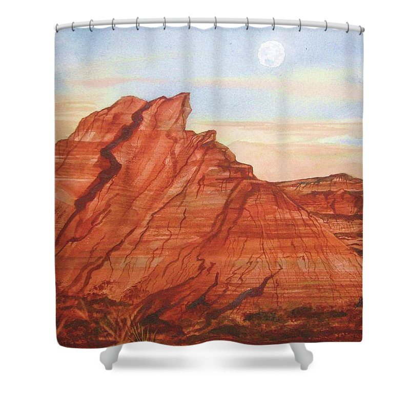 Red Rocks Shower Curtain featuring the painting The Teepees by Ellen Levinson