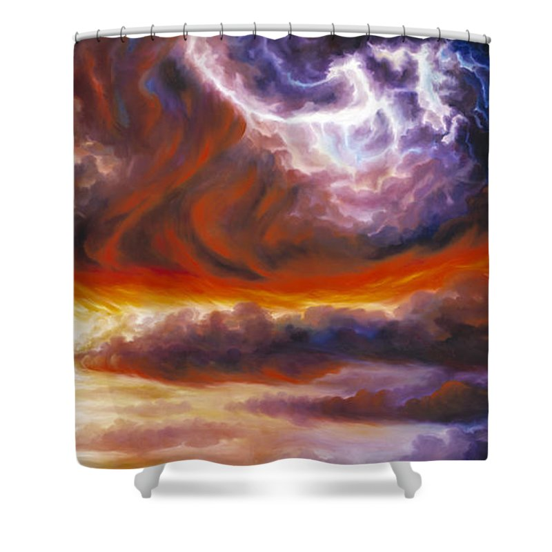 Tempest Shower Curtain featuring the painting The Tempest by James Christopher Hill