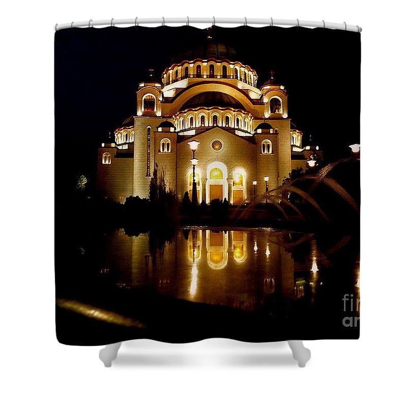 Danica Radman Shower Curtain featuring the photograph The Temple Of Saint Sava In Belgrade by Danica Radman