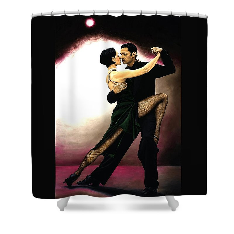 Tango Shower Curtain featuring the painting The Temptation of Tango by Richard Young
