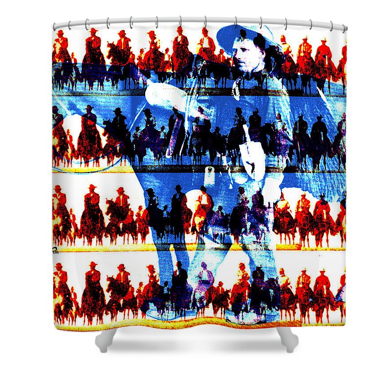 Cowboys Shower Curtain featuring the digital art The Tenderfoot by Seth Weaver
