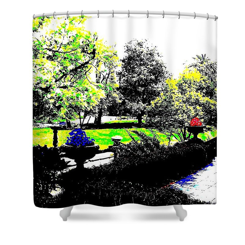 Terrace Shower Curtain featuring the digital art The Terrace by Will Borden