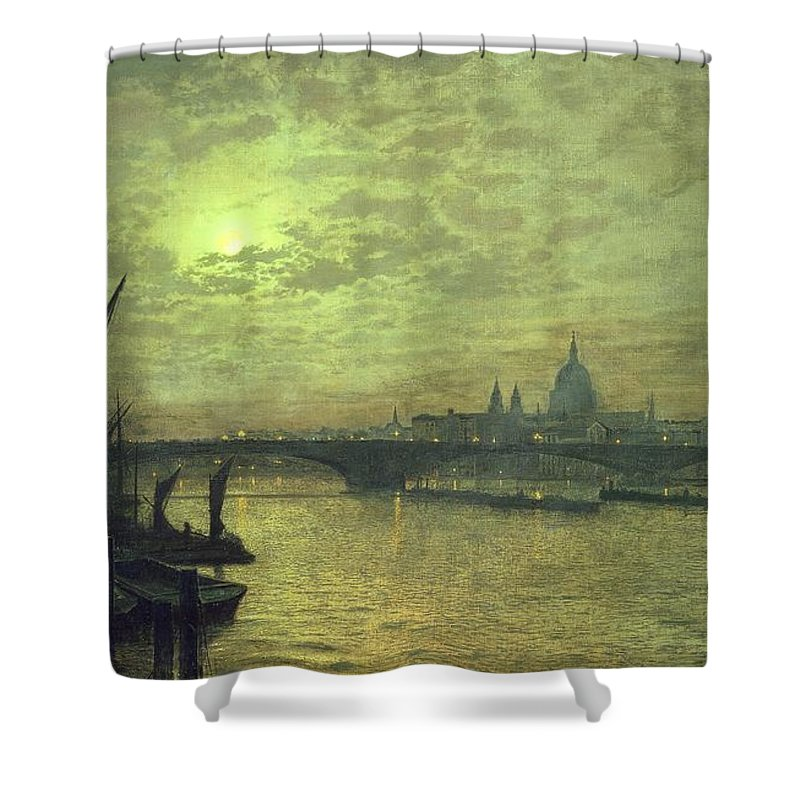 The Shower Curtain featuring the painting The Thames By Moonlight With Southwark Bridge by John Atkinson Grimshaw