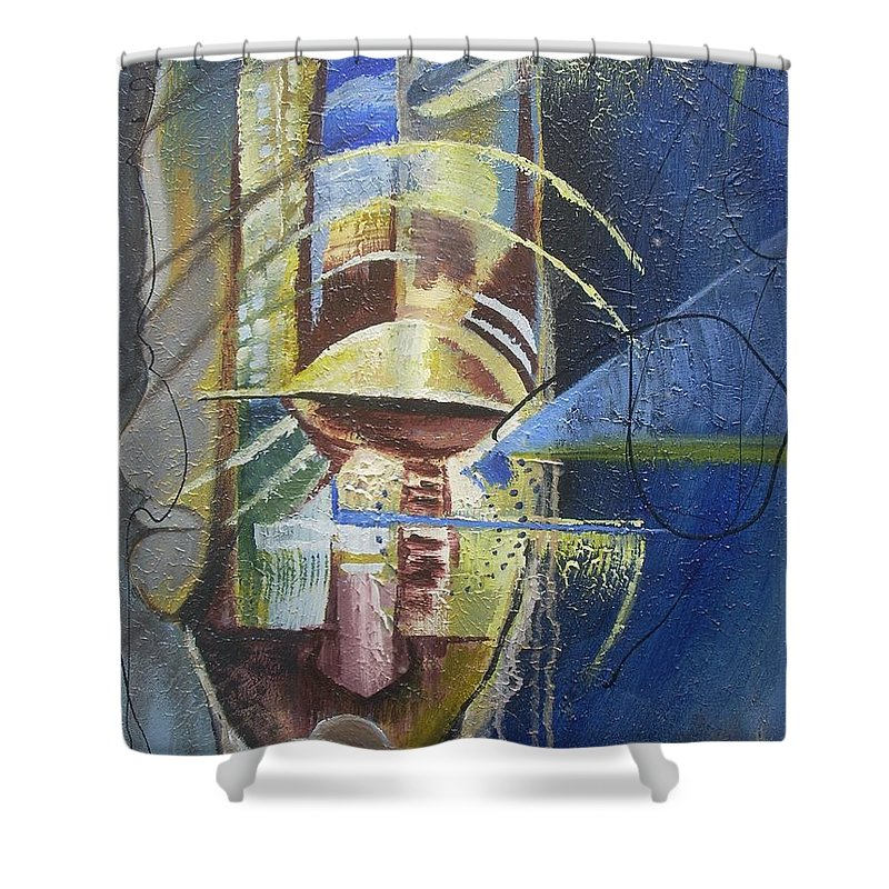 African American Shower Curtain featuring the painting The Third Eye by Hasaan Kirkland