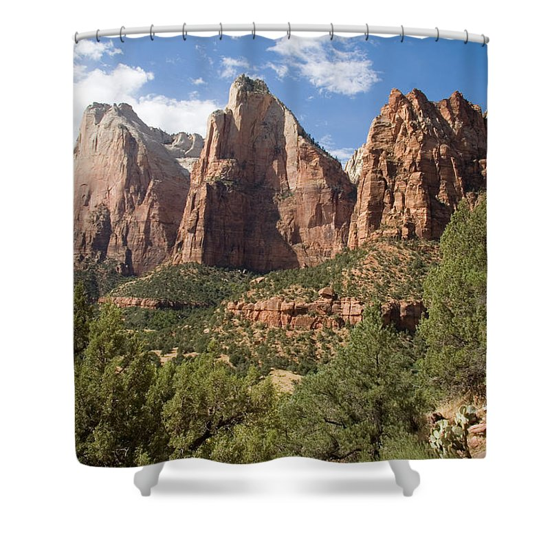 Zion National Park Shower Curtain featuring the photograph The Three Patriarchs Watch by Taylor S. Kennedy