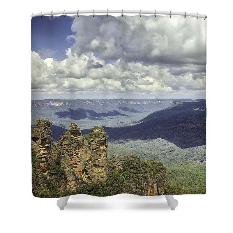Sydney Shower Curtain featuring the photograph The Three Sisters by Chris Cousins