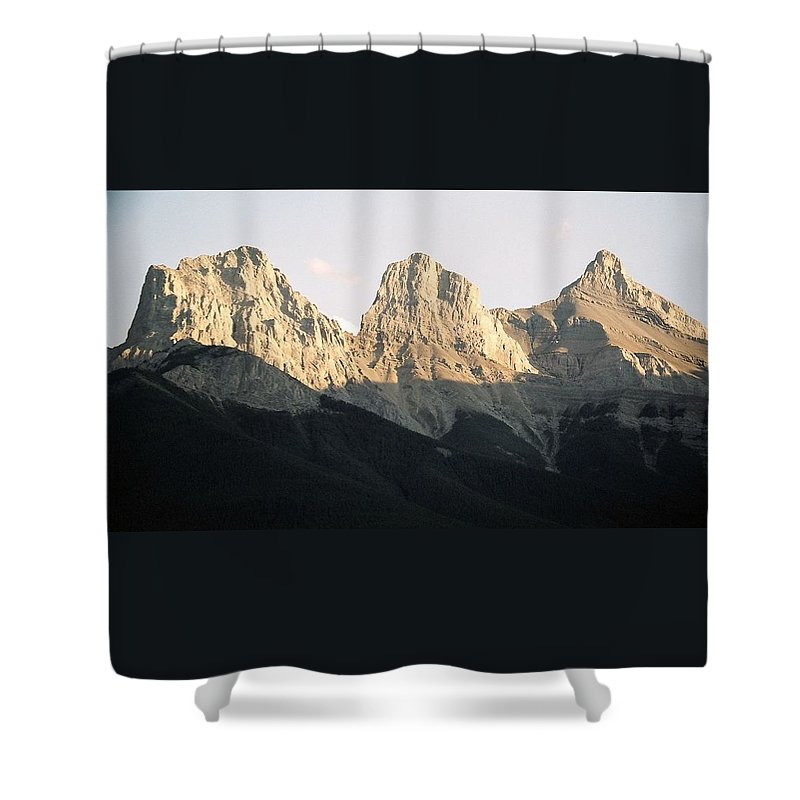 Rocky Mountains Shower Curtain featuring the photograph The Three Sisters Of The Rockies by Tiffany Vest