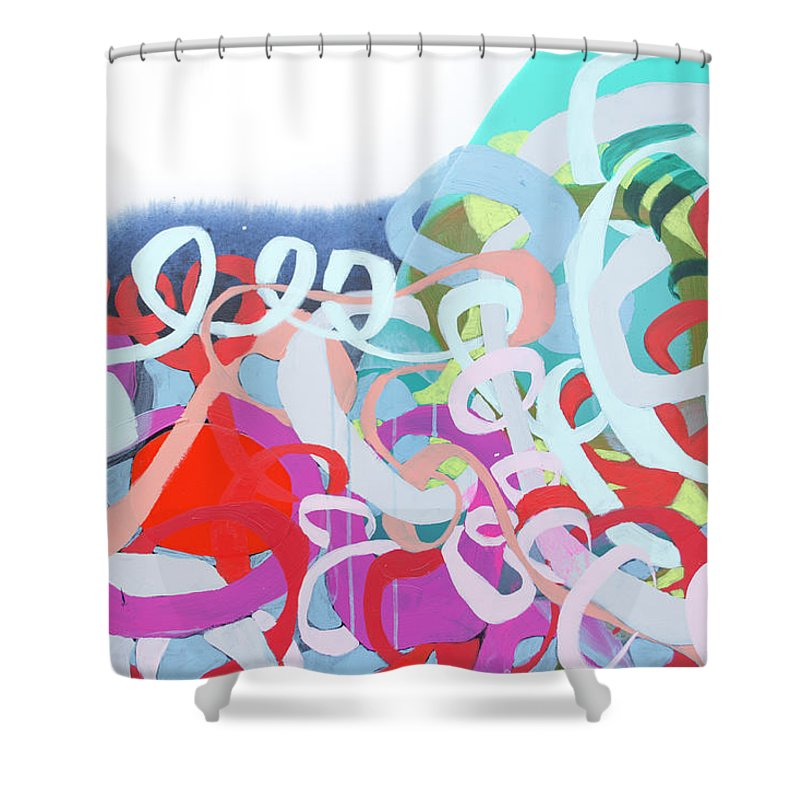 Abstract Shower Curtain featuring the painting The Thrill Of It All by Claire Desjardins