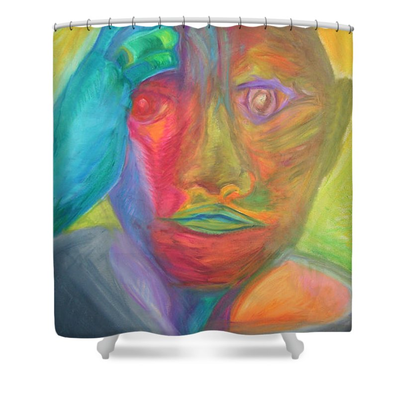 Shower Curtain featuring the pastel The time rider by Sitara Bruns