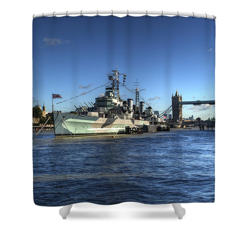 Tower Of London Shower Curtain featuring the photograph The Tower Hms Belfast And Tower Bridge by Chris Day