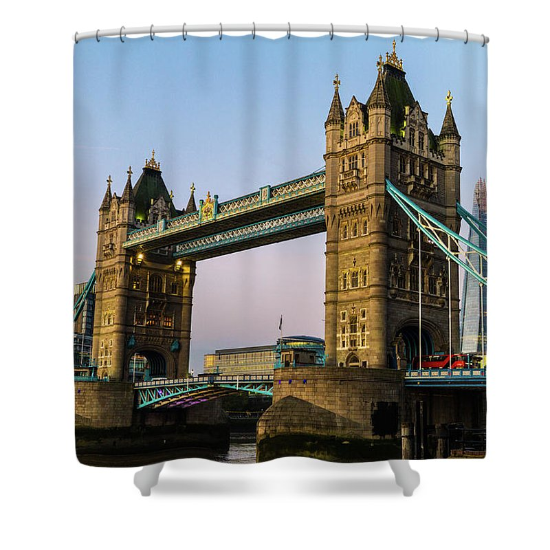 Bridge Shower Curtain featuring the photograph The Tower by Robert Stasio