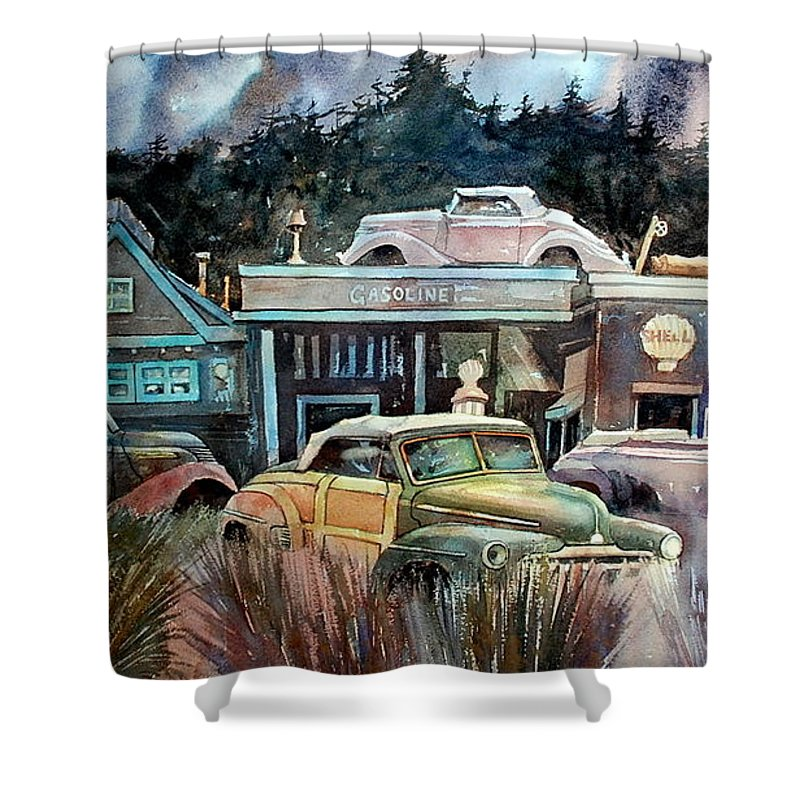 Stores Cars Trees Shower Curtain featuring the painting The Trading Post by Ron Morrison