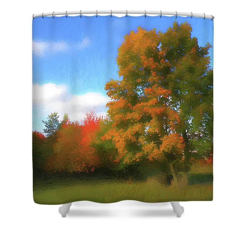 Nature Shower Curtain featuring the digital art The Transition From Summer To Fall. by Alex Lim