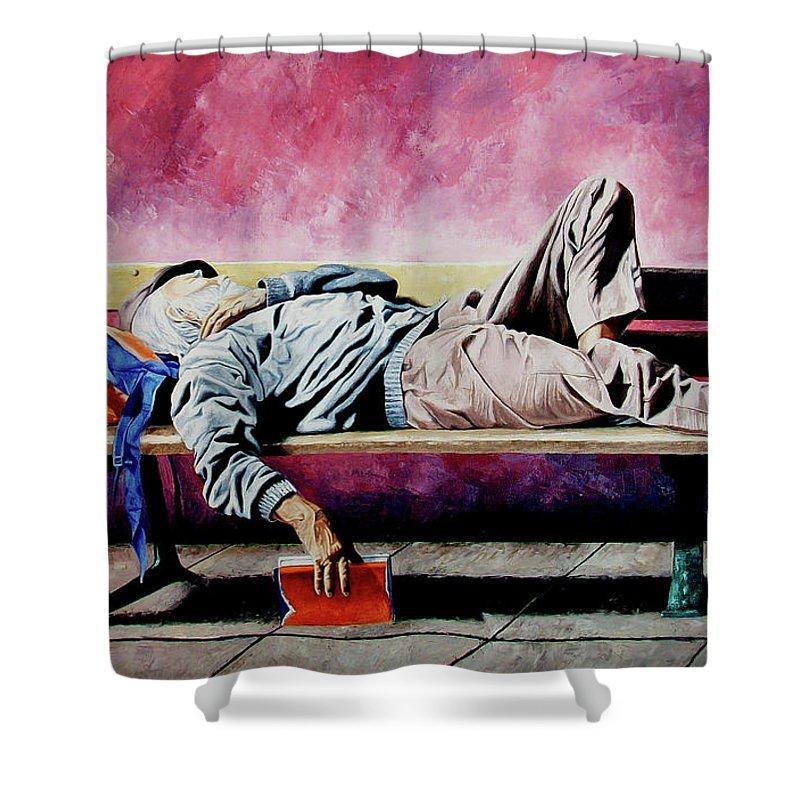 Figurative Shower Curtain featuring the painting The Traveler 1 - El Viajero 1 by Rezzan Erguvan-Onal