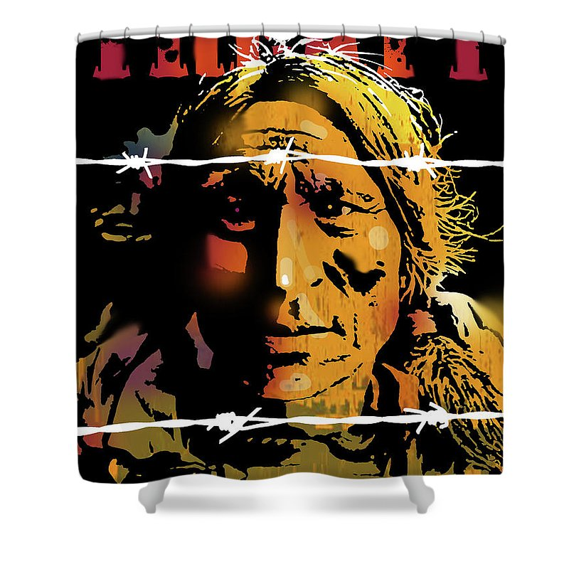 Native Americans Shower Curtain featuring the painting The Treaty by Paul Sachtleben