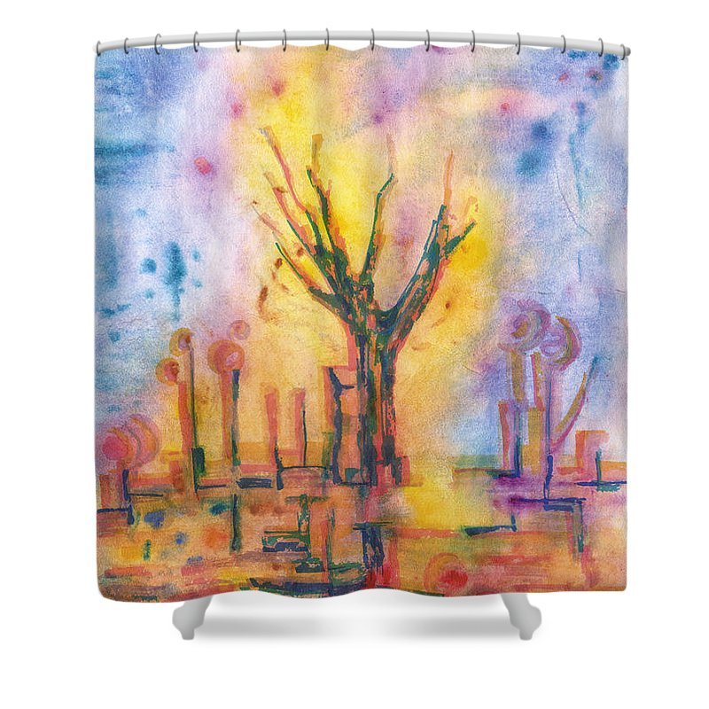 Contemporary Painting Shower Curtain featuring the painting The Tree On The Road. 19 March, 2016 by Tatiana Chernyavskaya