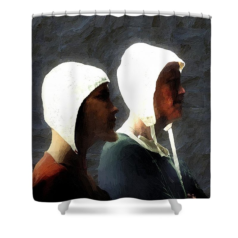 Men Shower Curtain featuring the painting The Trial Of The Heretics by RC DeWinter