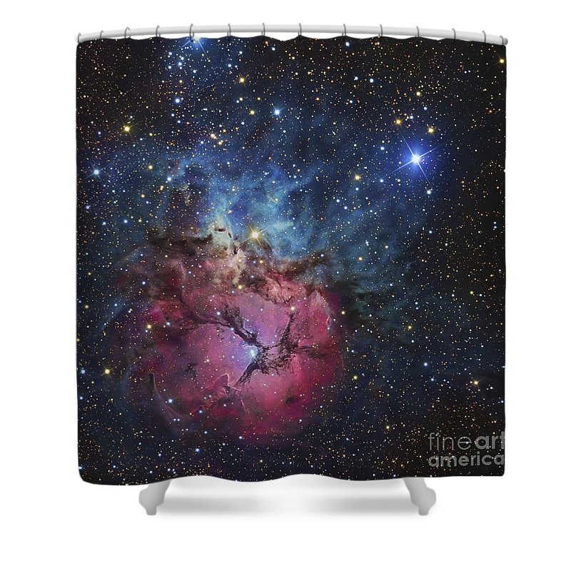 Night Shower Curtain featuring the photograph The Trifid Nebula by R Jay GaBany