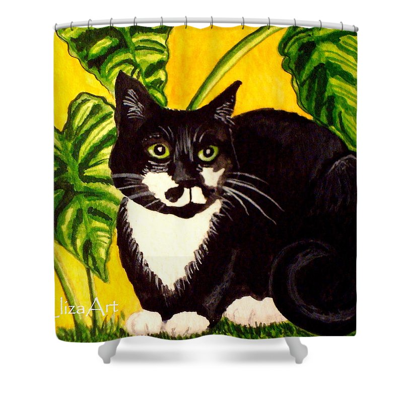 Watercolor Shower Curtain featuring the painting The Tropical Cat by Elizabeth Robinette Tyndall