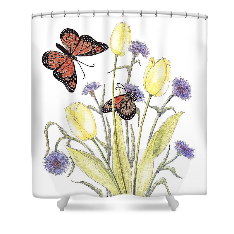 Tulips Shower Curtain featuring the painting The Tulip And The Butterfly by Stanza Widen