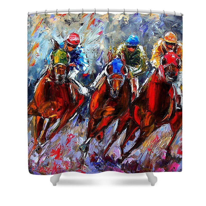 Horses Shower Curtain featuring the painting The Turn 2 by Debra Hurd