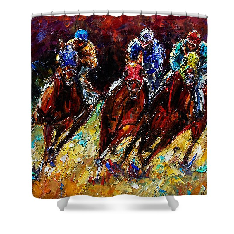 Horses Paintings Shower Curtain featuring the painting The Turn by Debra Hurd