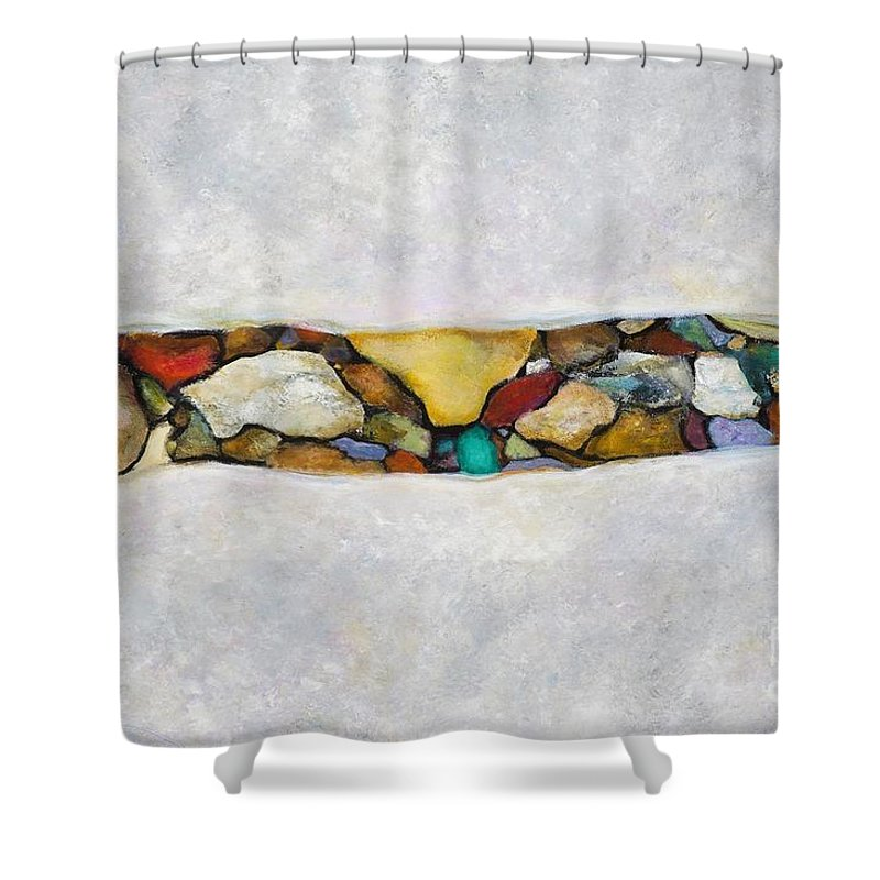 Rivers Shower Curtain featuring the painting The Turquoise Stone by Frances Marino