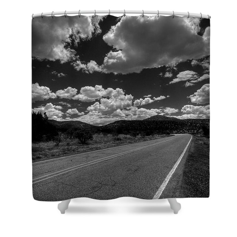 Black And White Shower Curtain featuring the photograph The Turquoise Trail by David Patterson