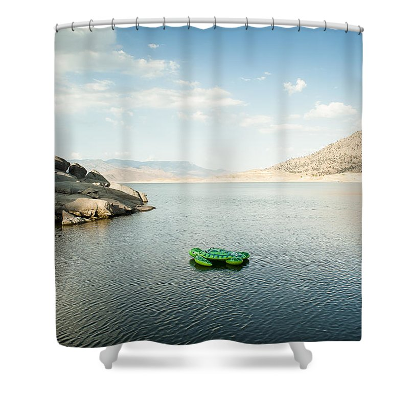 Landscape Shower Curtain featuring the photograph The Turtle That Got Away by Justin Carrasquillo