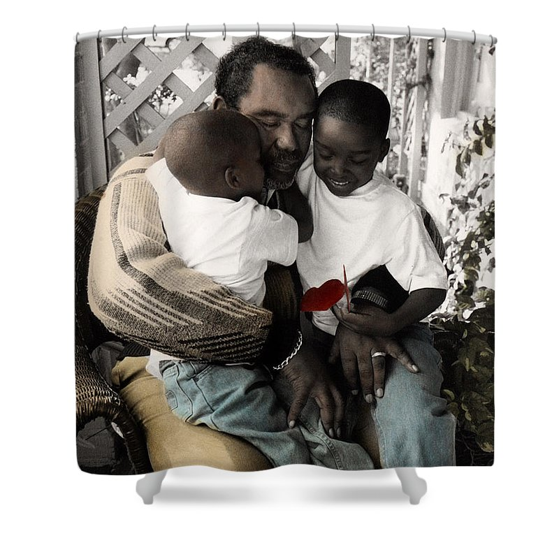 The Twelve Gifts Of Birth Shower Curtain featuring the photograph The Twelve Gifts Of Birth - Love 1 by Jill Reger
