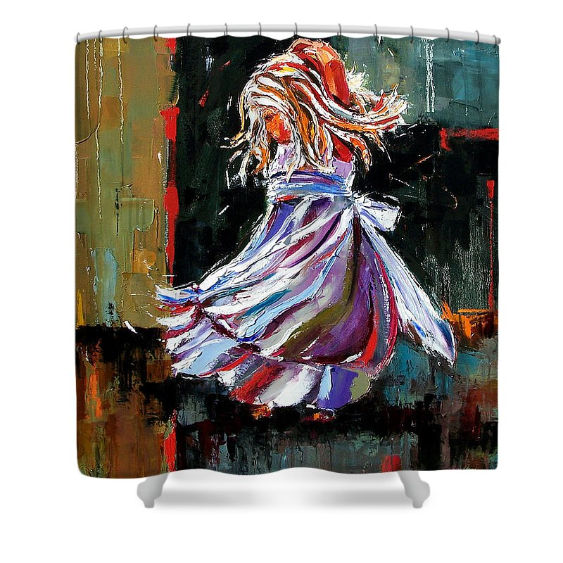 Girl Shower Curtain featuring the painting The Twirl by Debra Hurd