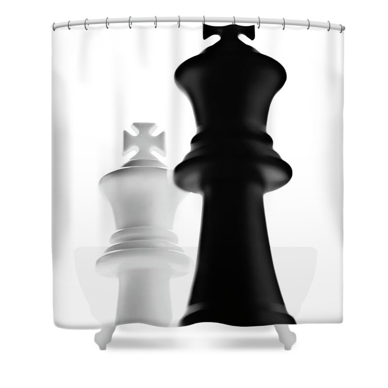 King Chess Pieces Shower Curtain featuring the photograph The Two Kings by Onyonet Photo Studios