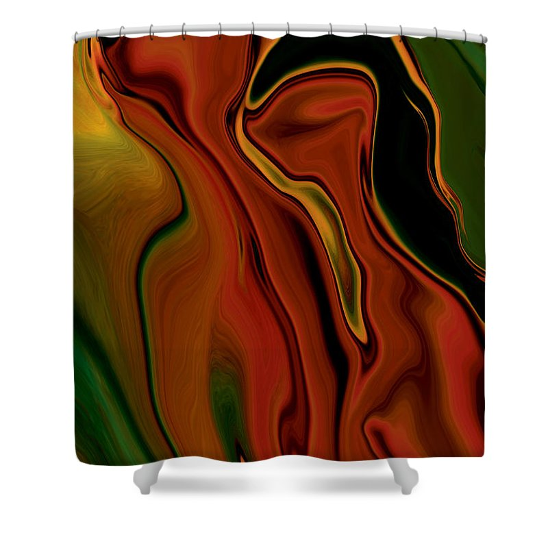 Abstract Shower Curtain featuring the digital art The Two by Rabi Khan