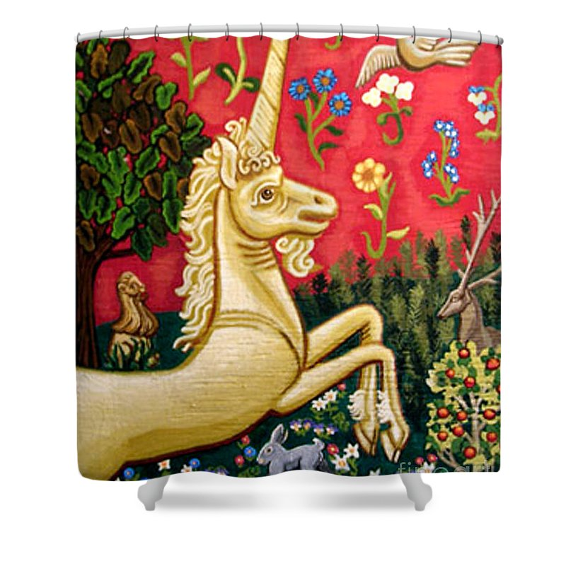 Unicorn Shower Curtain featuring the painting The Unicorn by Genevieve Esson