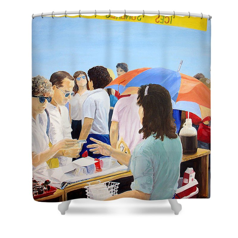 People Shower Curtain featuring the painting The Vendor by Steve Karol