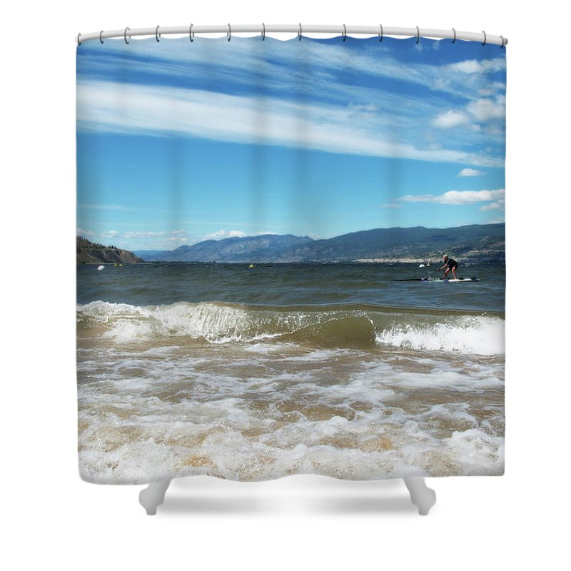 Penticton Shower Curtain featuring the photograph The View From Okanagan Beach by Lisa Knechtel