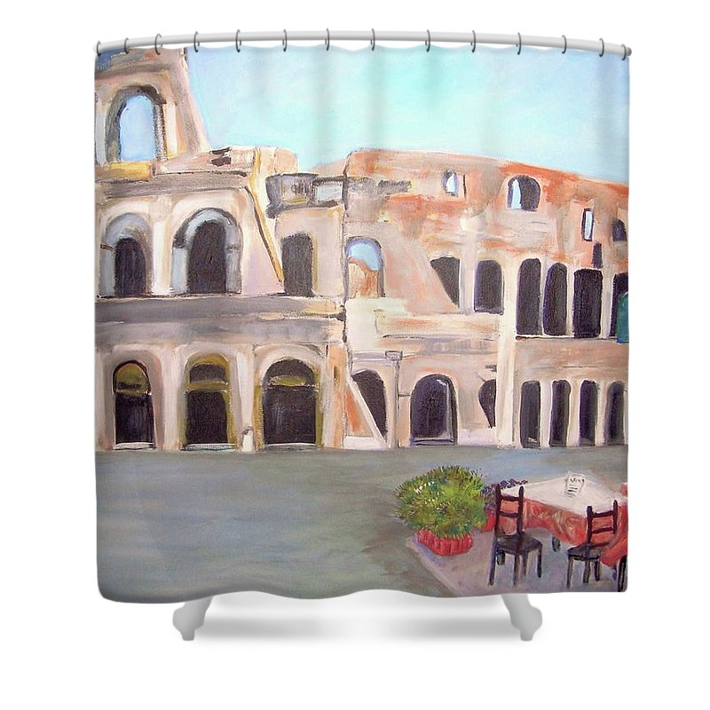 Cityscape Shower Curtain featuring the painting The View Of The Coliseum In Rome by Teresa Dominici