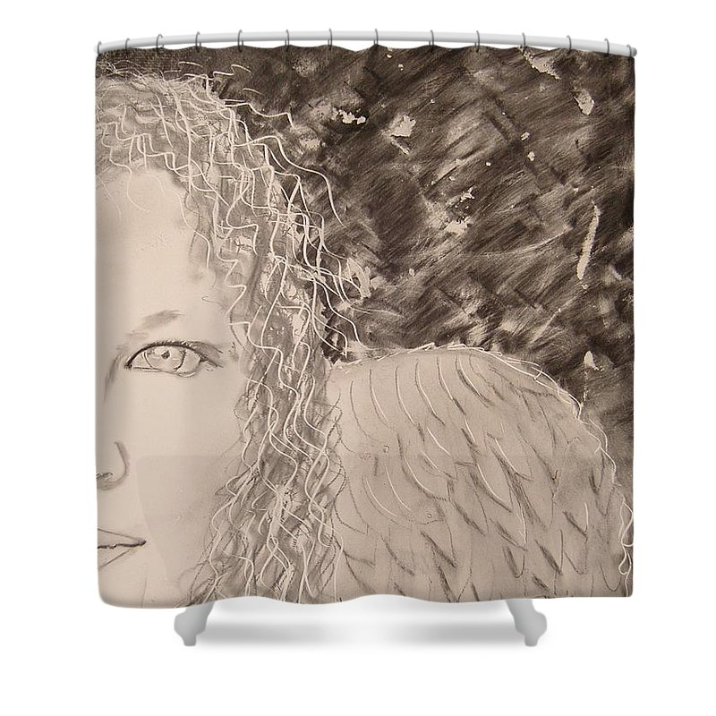 Angel Shower Curtain featuring the drawing The Viewing by J Bauer
