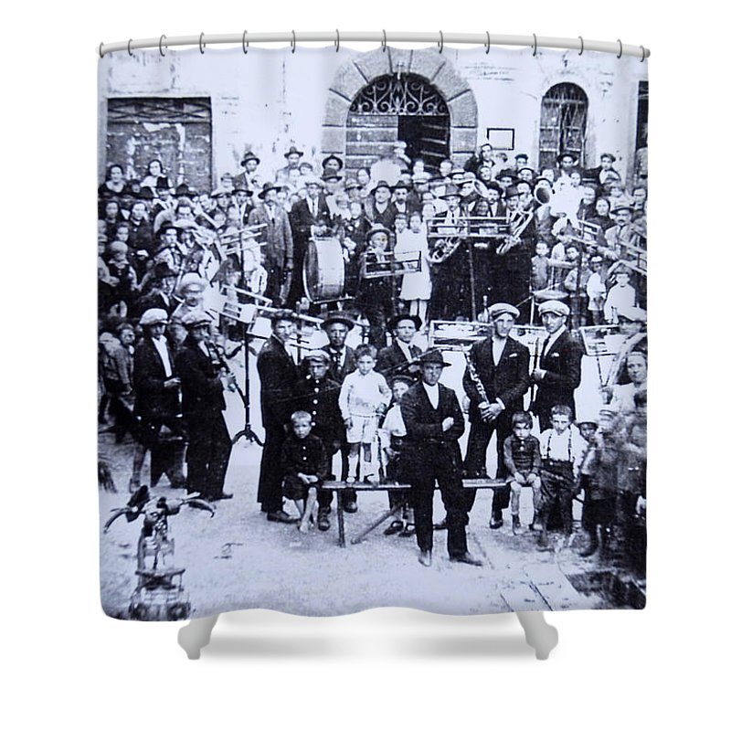 Tuscany Shower Curtain featuring the photograph The Village Band by Kurt Hausmann