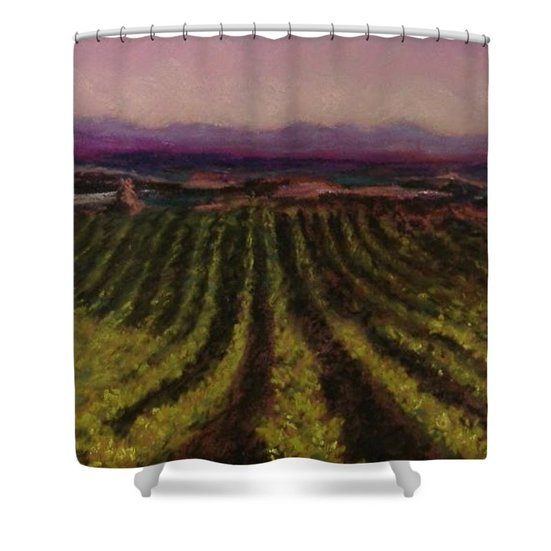 Landscape Shower Curtain featuring the pastel The Vineyard by Pat Snook