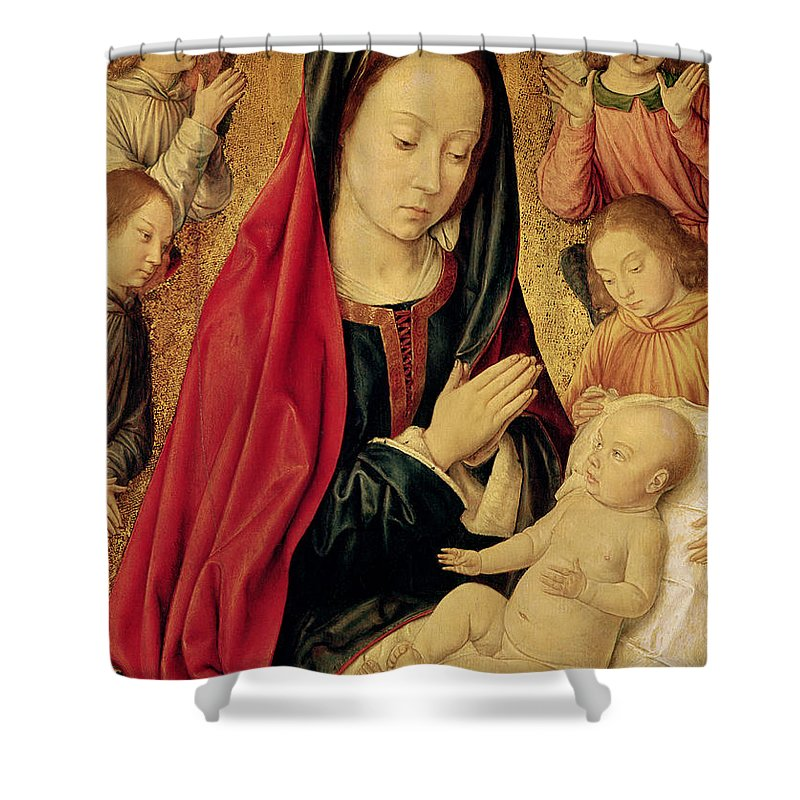The Shower Curtain featuring the painting The Virgin And Child Adored By Angels by Jean Hey