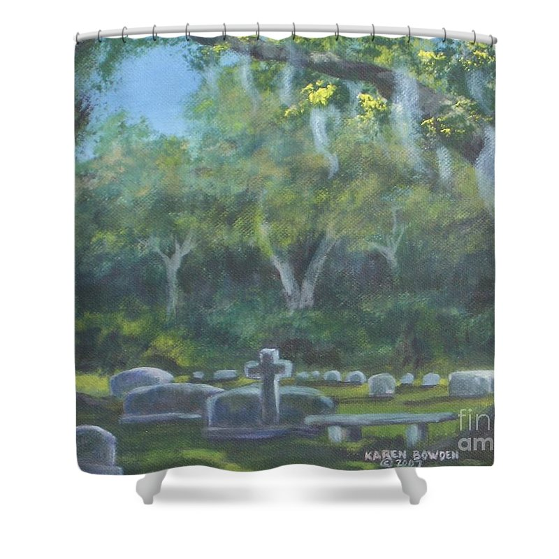 Landscape Cemetary Ghost Tree Florida Orlando Greenwood Shower Curtain featuring the painting The Visitor 75usd by Karen Bowden