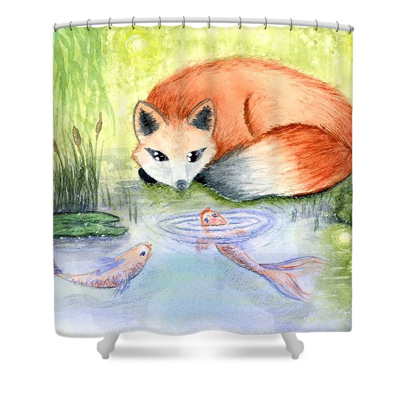 Fox Shower Curtain featuring the painting The Visitor by Stephanie Elaine Smith