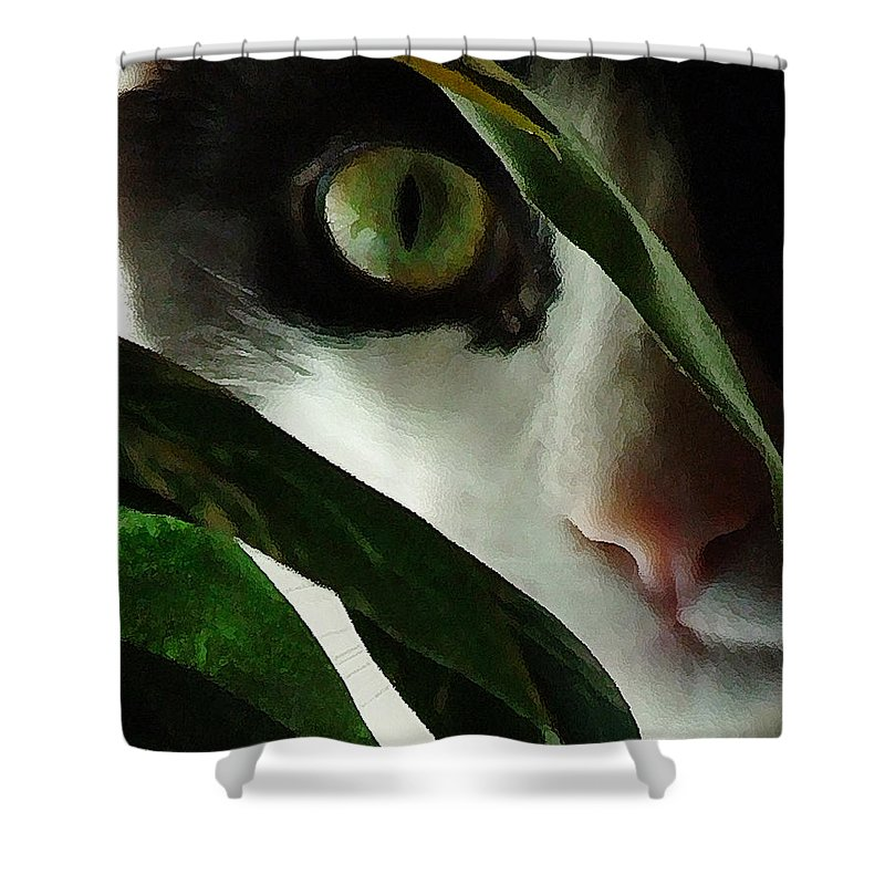 Cat Shower Curtain featuring the photograph The Voyeur by Lynn Andrews