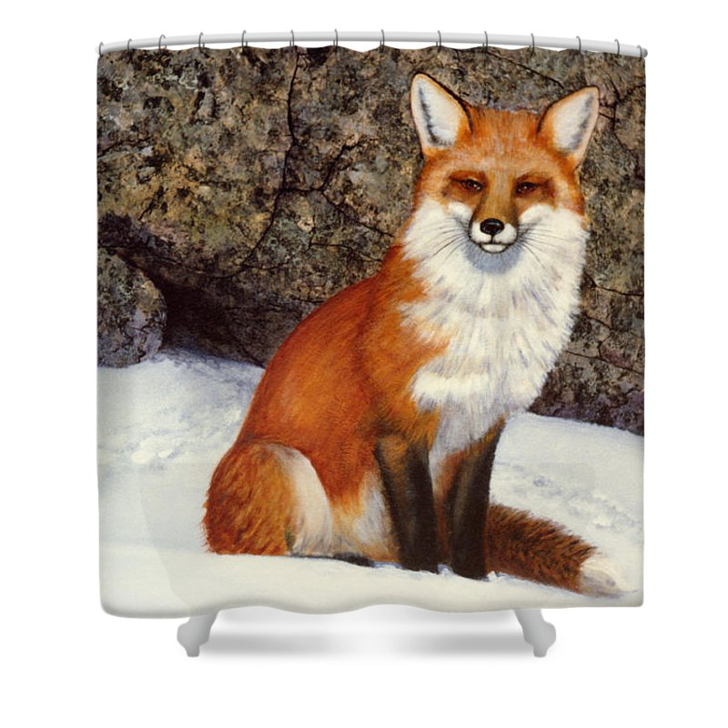 Wildlife Shower Curtain featuring the painting The Wait Red Fox by Frank Wilson