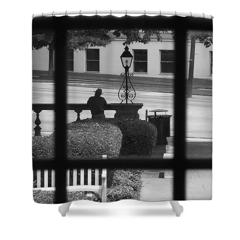 Black And White Shower Curtain featuring the photograph The Waiting Room by Robert Meanor