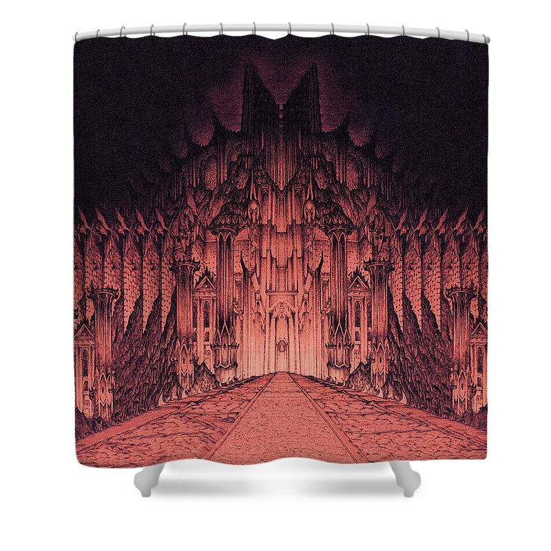 Barad Dur Shower Curtain featuring the drawing The Walls Of Barad Dur by Curtiss Shaffer