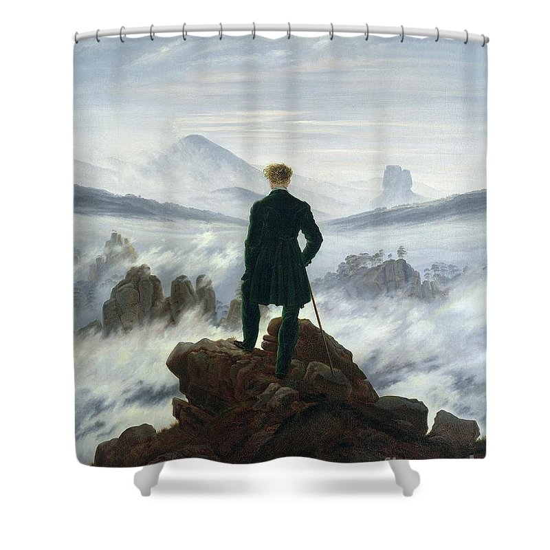 The Shower Curtain featuring the painting The Wanderer Above The Sea Of Fog by Caspar David Friedrich